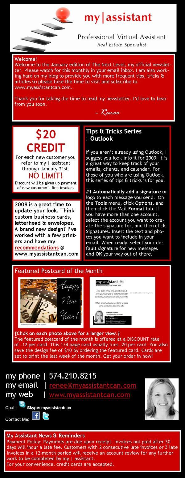January 2009 Newsletter
